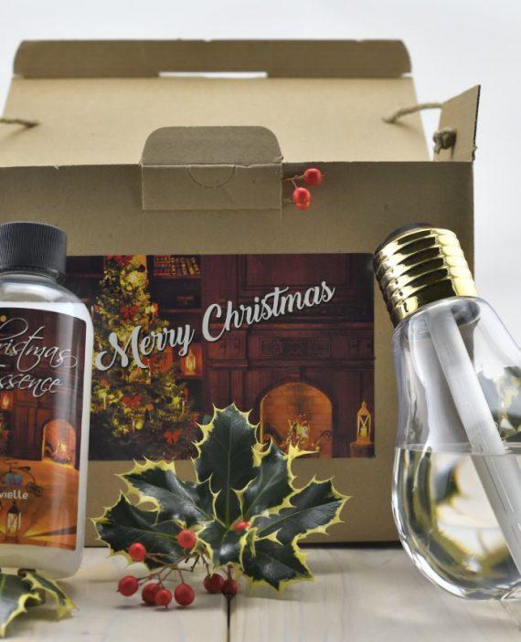 box natalizio con umidificatore a forma lampadina e ricarica per profumatore da 250ml.